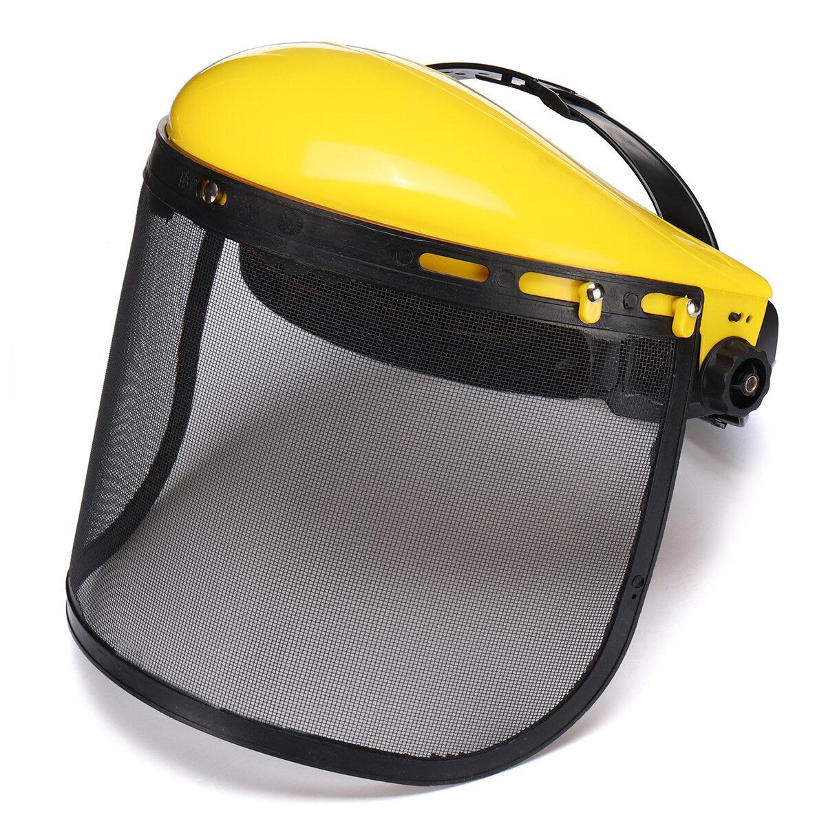 Casco de seguridad amarillo de cara completa Mascara Motosierra Brushcutte Malla para cortadora de césped Trimmer Cortador de cepillo