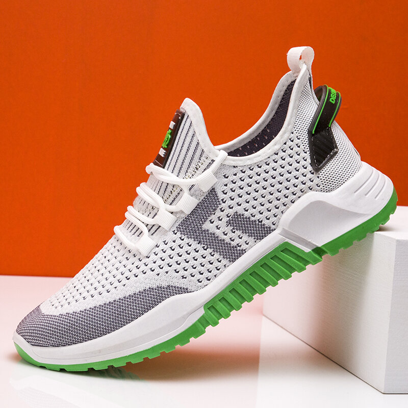 Men Knitted Fabric Breathable Non Slip Soft Sole Sport Casaul Running Shoes