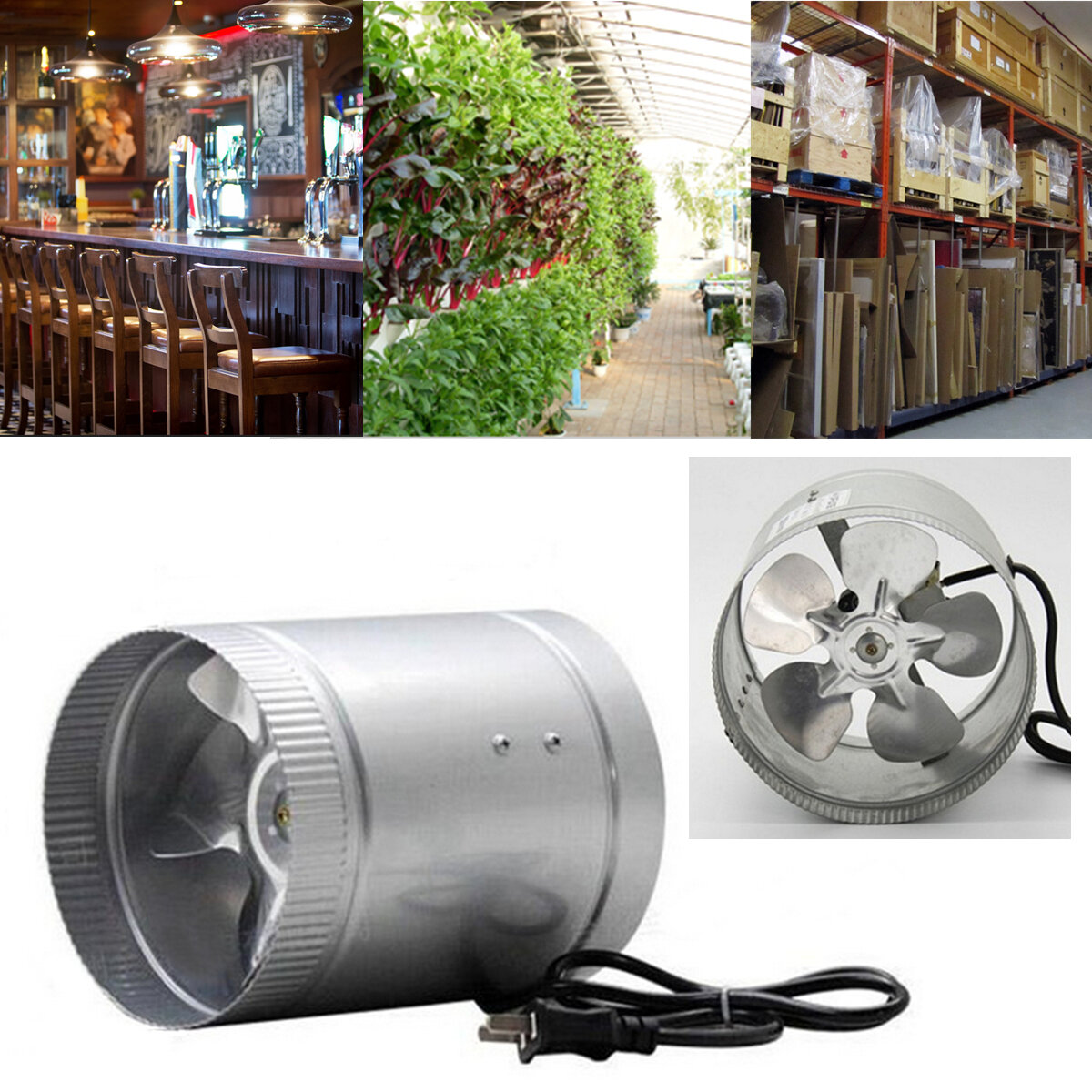 4 Inch Inline Duct Fan Booster Exhaust Blower Air Cooling Vent Metal Blade