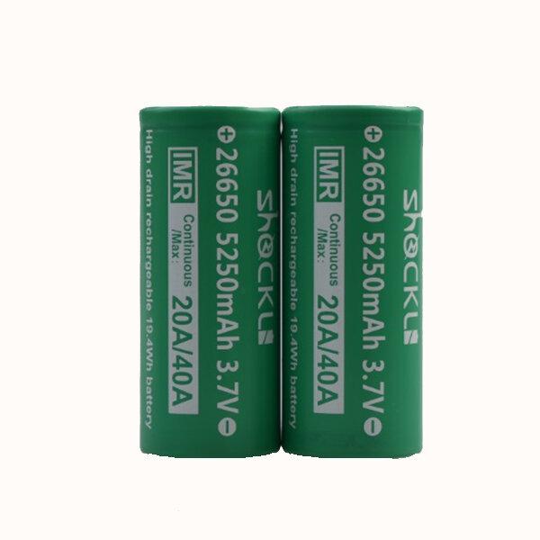 2PCS Shockli IMR 26650 3.7V 5250mah 20A Discharge Rechargeable Li-ion Battery-Flat top