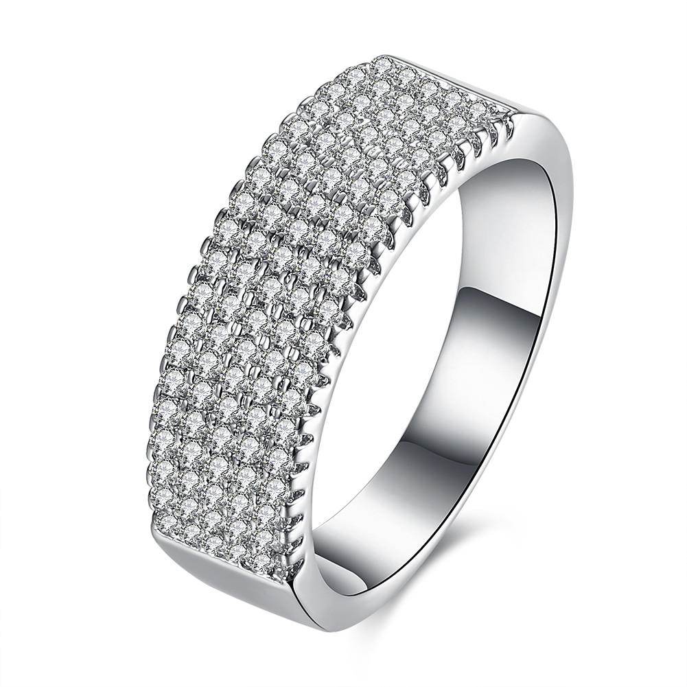 INALIS Zircon Platinum Plated Width Ring Gift Wedding Finger Rings