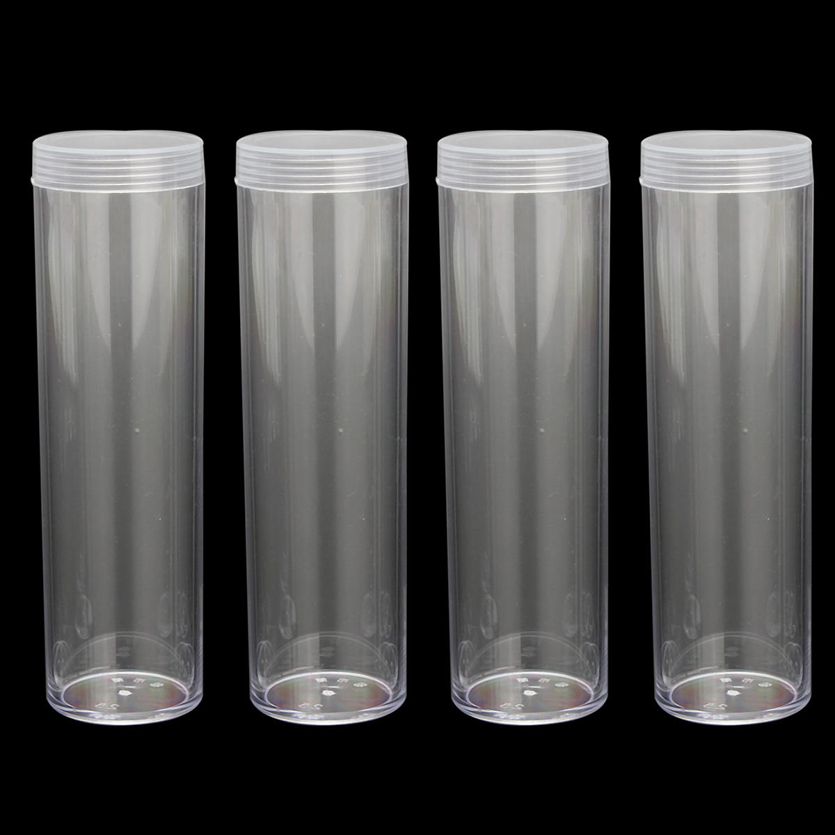 Coin Storage Tubes Dime Size Round Clear Plastic Containers Screw On Caps 10pcs