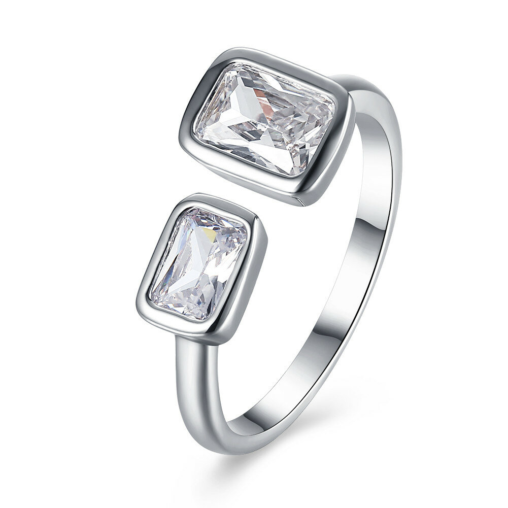 INALIS Platinum Plated Square Rhinestone Ring Opening Finger Rings