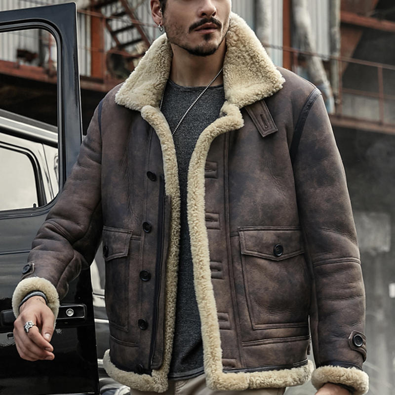 771501670 ChArmkpR Mens Biker Jacket Big Pocket Thick Warm Winter Shearling Faux  Leather Coats