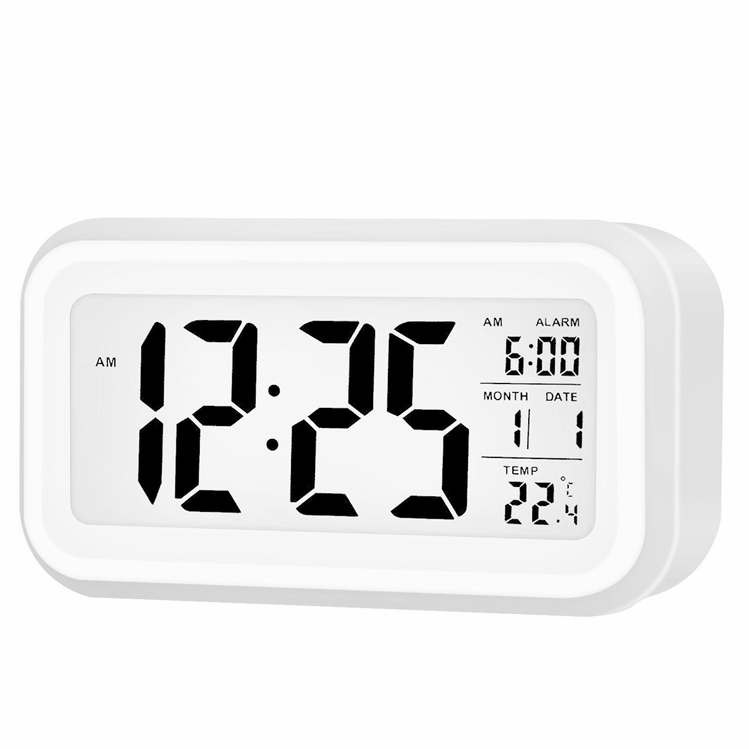 Digital Alarm Clock White Backlight Snooze Temperature Battery Operated LCD Disp