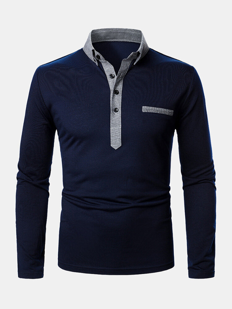 Mens Two Tone Lapel Casual Long Sleeve Golf Shirts With Pocket