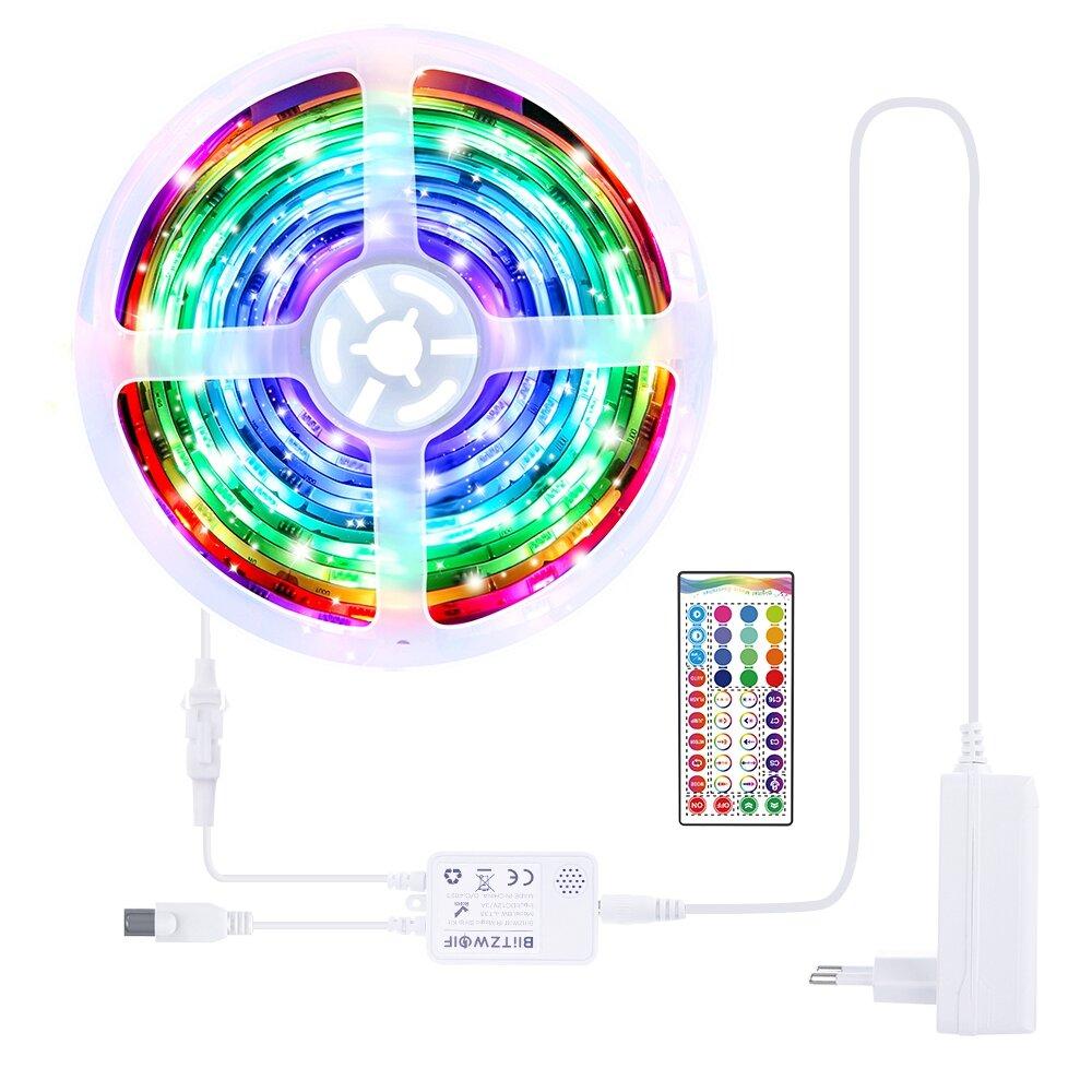 BlitzWolf® BW-LT33 5M WS2811 5050 Smart IC Music Magic LED Strip Light Kit EU/US Plug + 40Keys IR Remote Control DC12VChristmas Decorations Clearance Christmas Lights