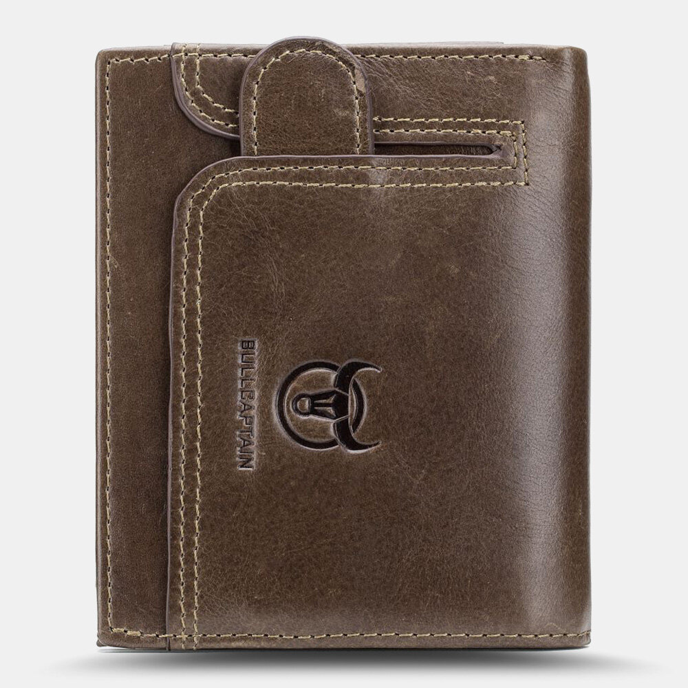 Men Genuine Leather Multi-card Slot RFID Anti-theft Thin Card Holder Money Clip Wallet Driver's License Wallet