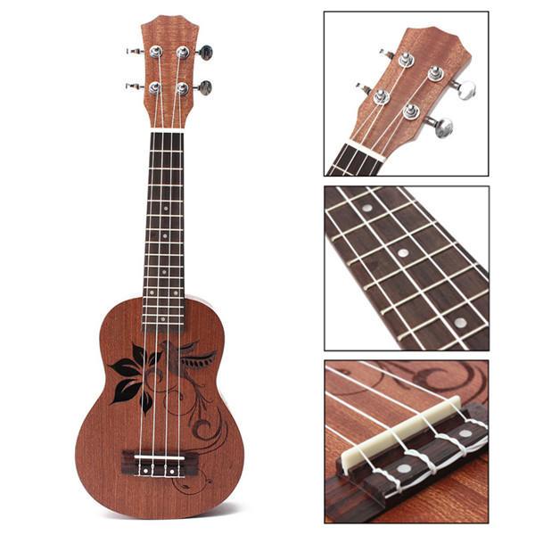 21 inch soprano ukulele uke sapele 15 frets musical instrument flower sale. Black Bedroom Furniture Sets. Home Design Ideas
