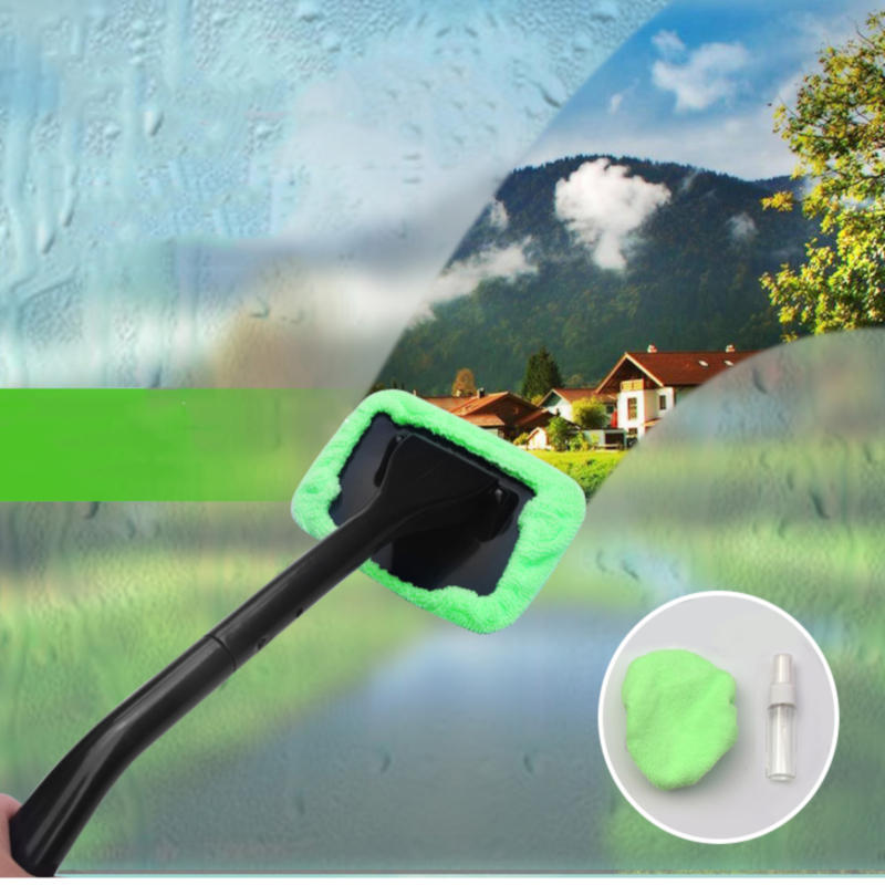 Window Windshield Cleaning Kit Tool Microfiber Cloth Car Cleanser Brush with Detachable Handle Auto Glass Wiper