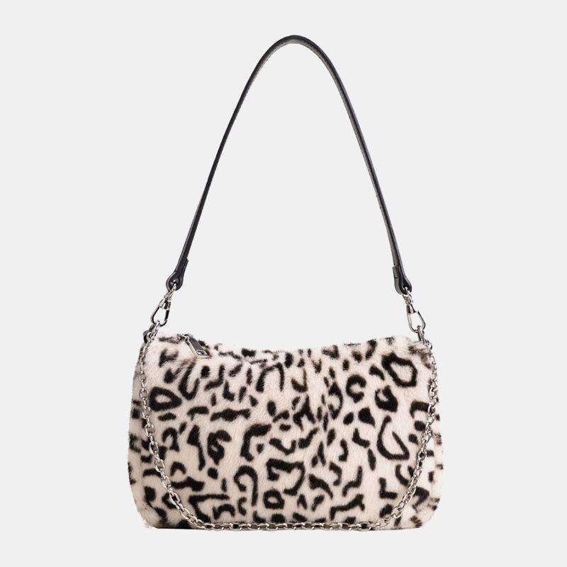 Women Felt Soft Casual Fashion Leopard Pattern Underarm Mini All-match Handbag Shoulder...