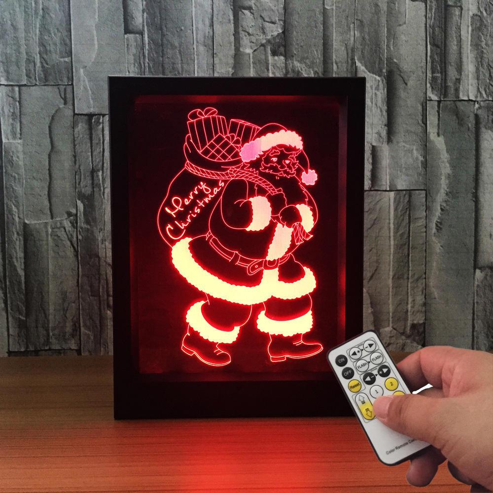 LED Navidad 3D Marco de fotos colorido Luces de la noche 7 colores Cambio Control remoto Escritorio Santa Lámpara