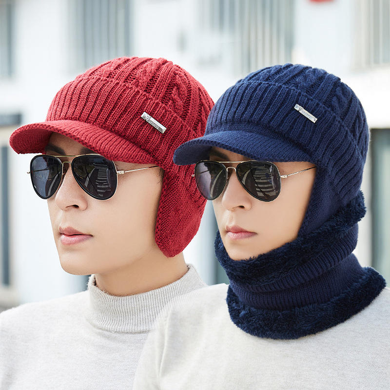 482cc1b2 Men Women Winter Windproof Plus Velvet Knit Hat Scarf Set Outdoor Thicken  Ski Earmuffs Cap COD