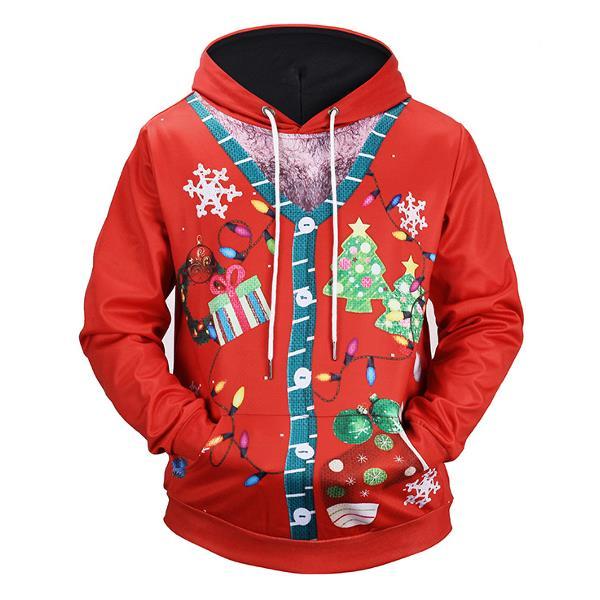 Christmas Decorating 3D Printing Blouse Men's Casual Long Sleeves Loose Hoodies