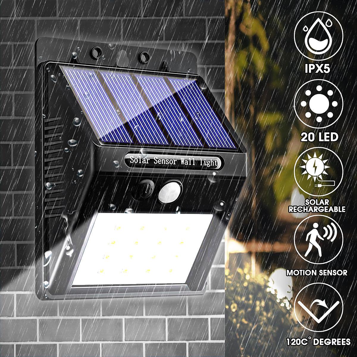 20 LED 400Lumen На открытом воздухе Солнечная Wall Лампа Wireless Motion Датчик Огни Водонепроницаемы Яркий ночной свети