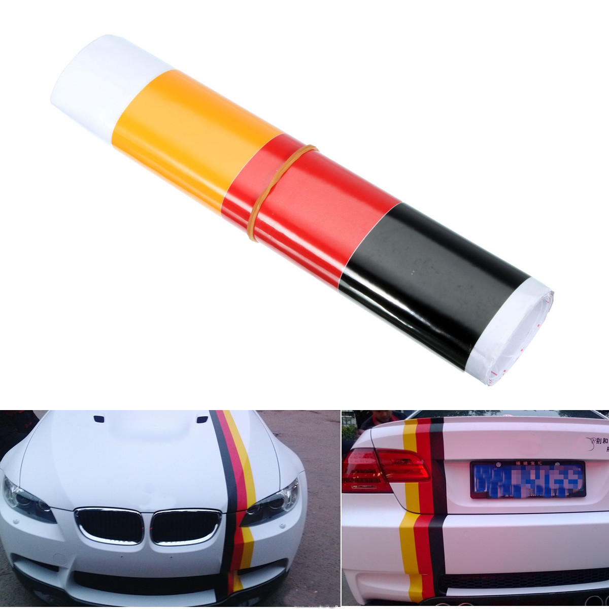 German Flag Style Auto Vehicle Bumper Stripes Sticker Decal Vinyl Car Stickers