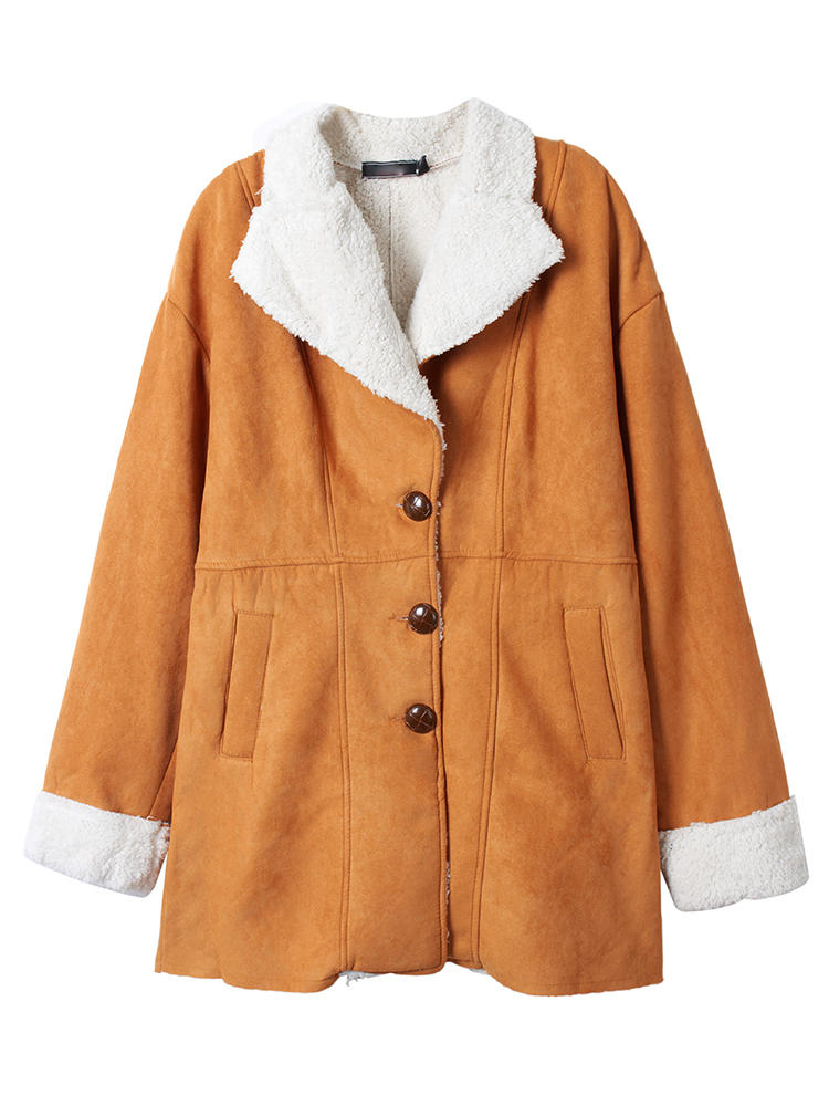 Casual Women Lapel Double Breasted Faux Wool Suede Coats