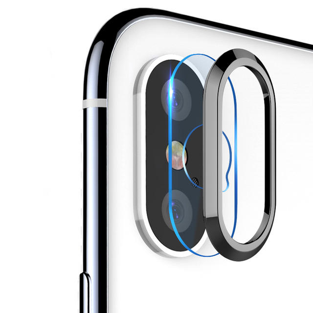 Bakeey Black Back Camera Lens Metall Ring Guard Med Clear Tempered Glass Lens Film For iPhone XS / X