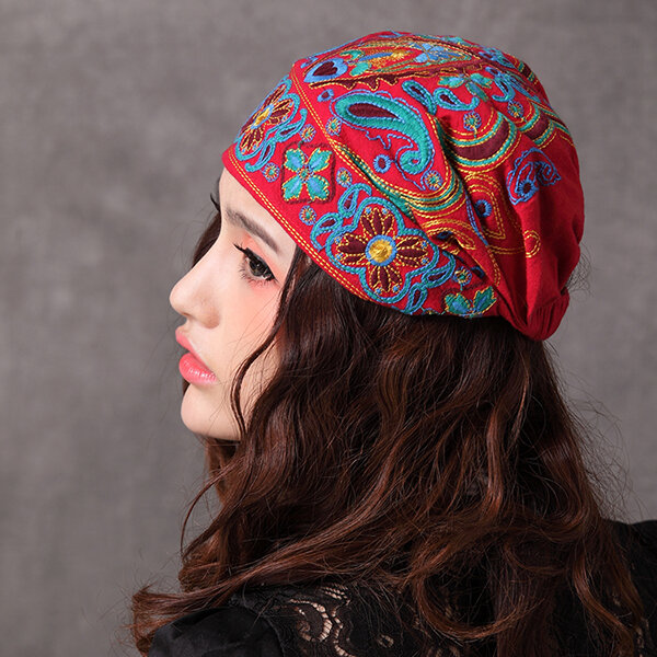 f4508fe68 Women Navy Vintage Beanie Hat Ethnic Embroidery Flowers Slouch Cotton  Skullcap Cap