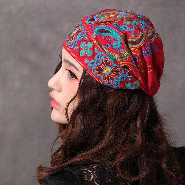 Kvinnor Navy Vintage Beanie Hat Etnisk Broderi Blommor Slouch Cotton Skullcap Cap