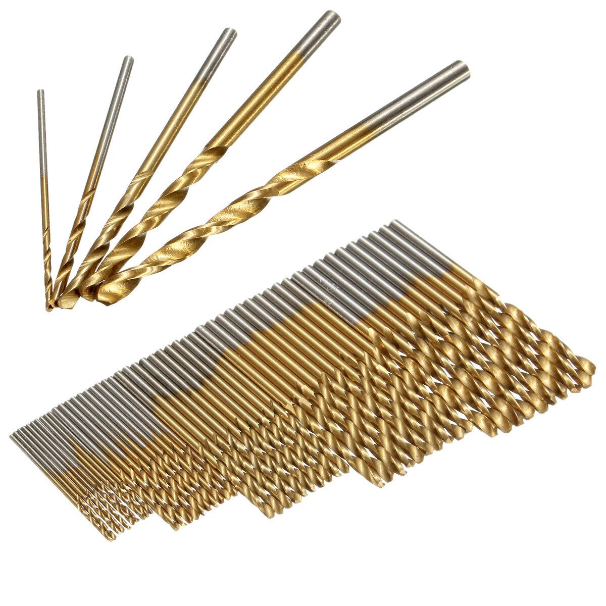 Drillpro 50PCS 1/1.5/2/2.5/3mm HSS Titanium Coated Twist Drill Bits High Speed Steel Drill Bit Set