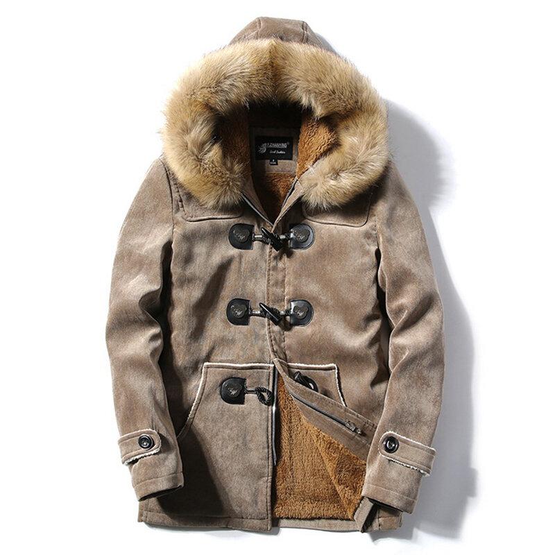 Mens Furry Hooded Fleece Thick Warm Winter Toggle Coat Parka Jacket