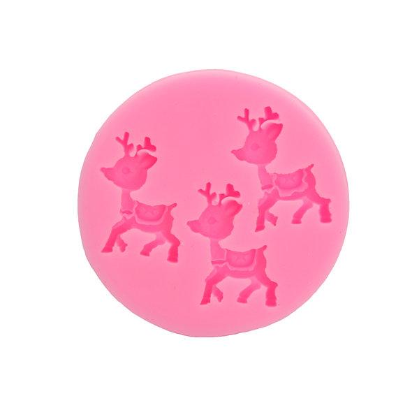 Ciervos de Navidad que adornan el molde de la pasta de silicona del molde de la pasta de silicón Herramientas animales de la hornada de la forma
