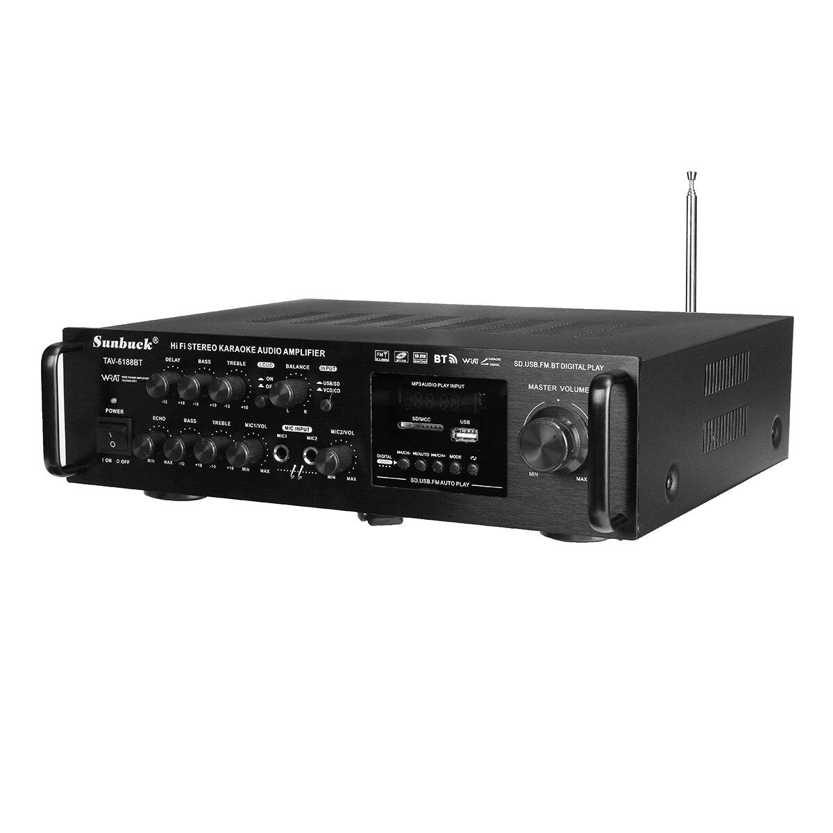 Sunbuck TAV-6188BT 2000W 4ohm Setero bluetooth FM Karaoke Amplifier RC Support 2 Microphone