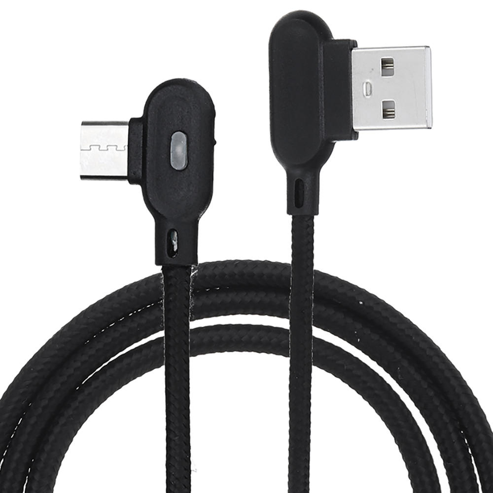 2M 90 Degree 2.4A Breathing Light Type C Fast Charging Data Cable For Smartphone Tablet