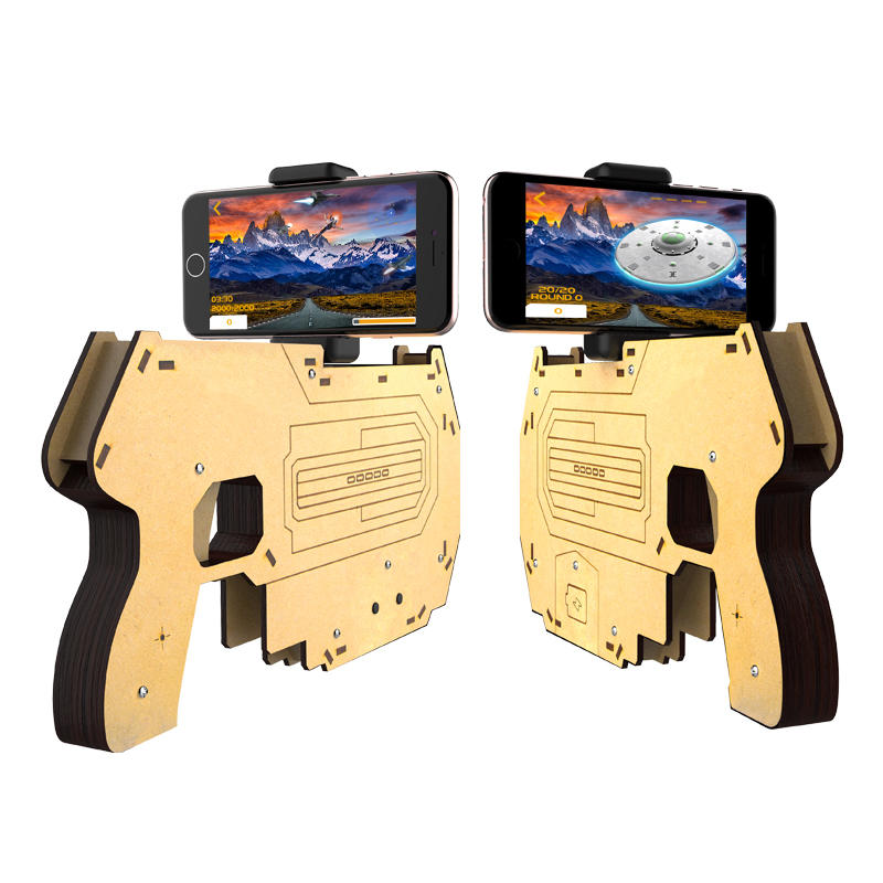 DIY木製の3D現実ARゲームBluetooth携帯電話Stand Holder i電話 7のための玩具銃Samsung