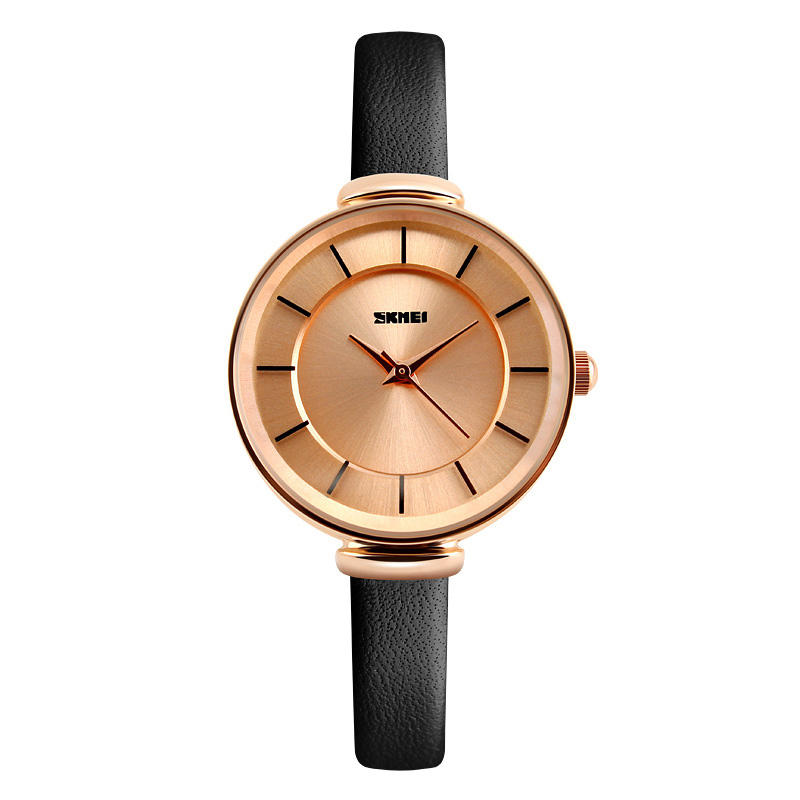SKMEI 1184 Simple Design Ladies Wrist Watch Genuine Leather Strap Quartz Watches