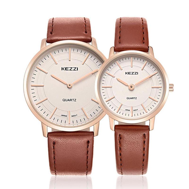 KEZZI 1596 Male Female Lovers Simple Dial Leather Strap Fashion Quartz Couple Watch