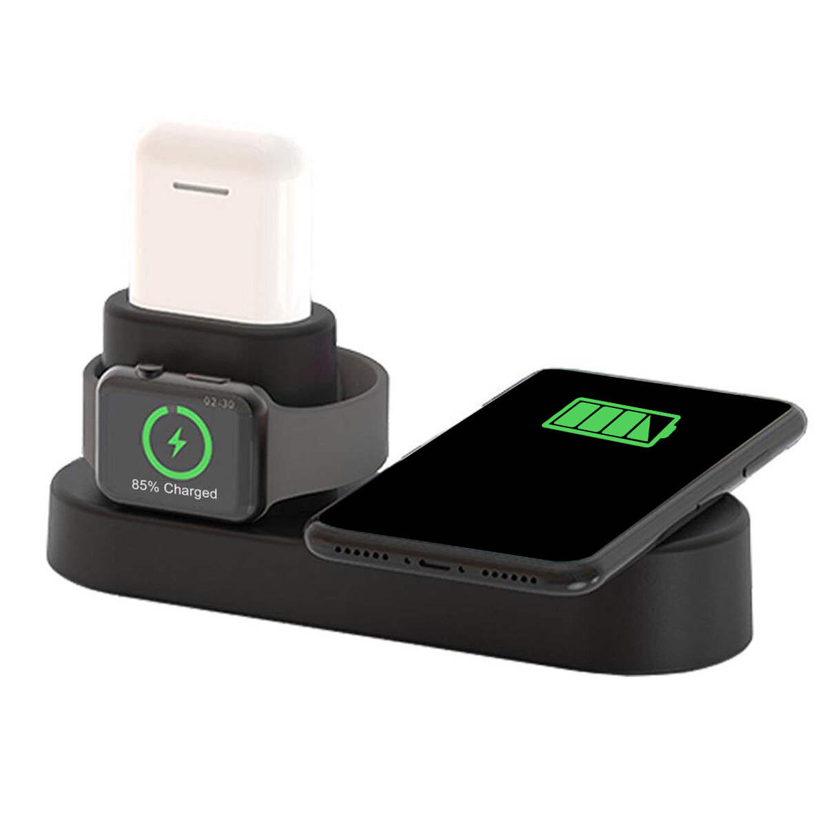 US Plug 4 In 1 Qi Ladestasjon for trådløs lader For Smart Phone / Apple Watch Series / Apple AirPods