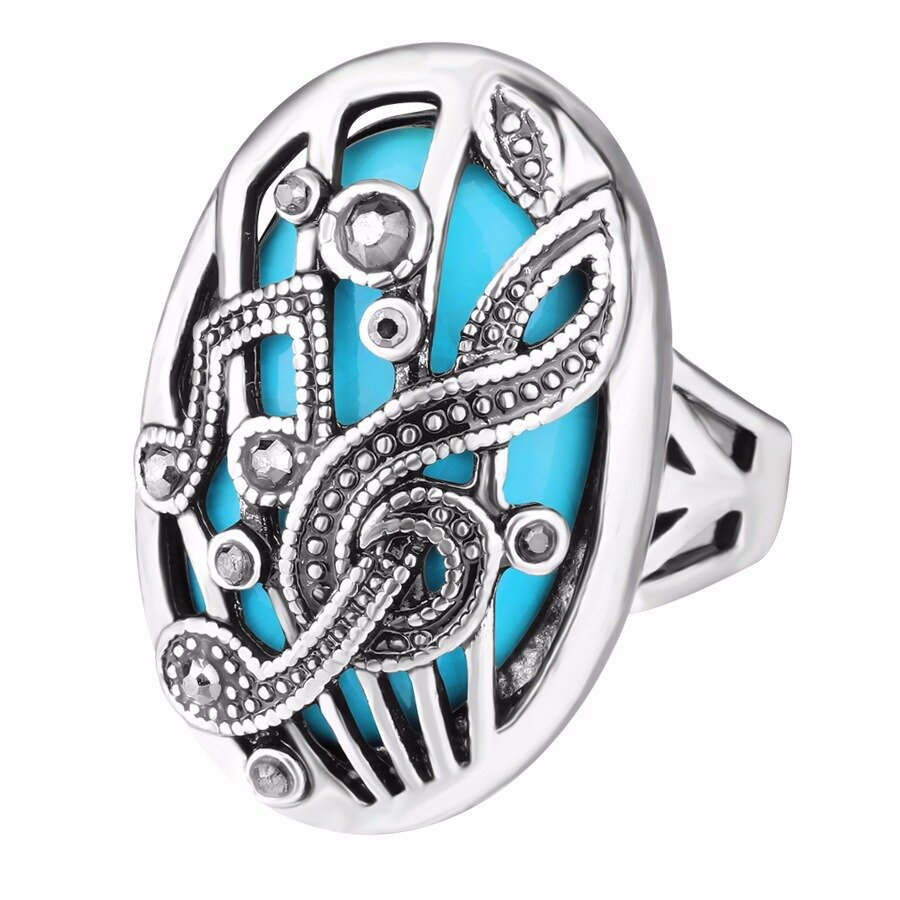 Ethnic Hollow Carve Finger Ring Music Match Rhinestone Oval Geometric Ring Vintage Jewelry for Women