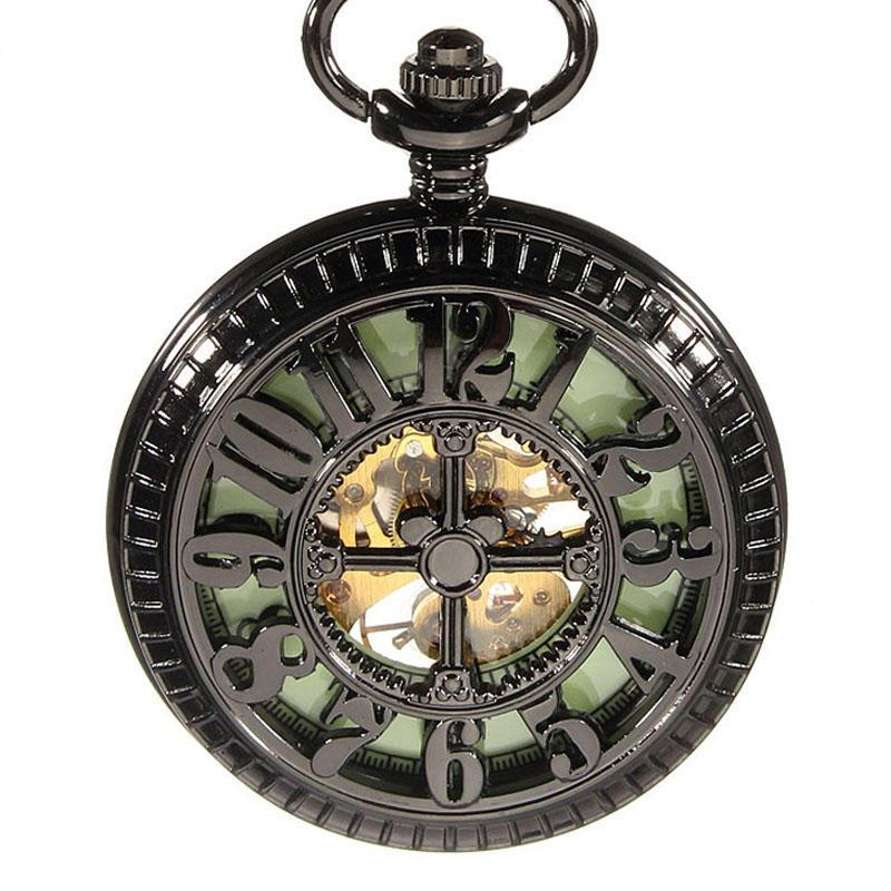DEFFRUN Vintage Skeleton Mechanical Luminous Black Steampunk Pocket Watch