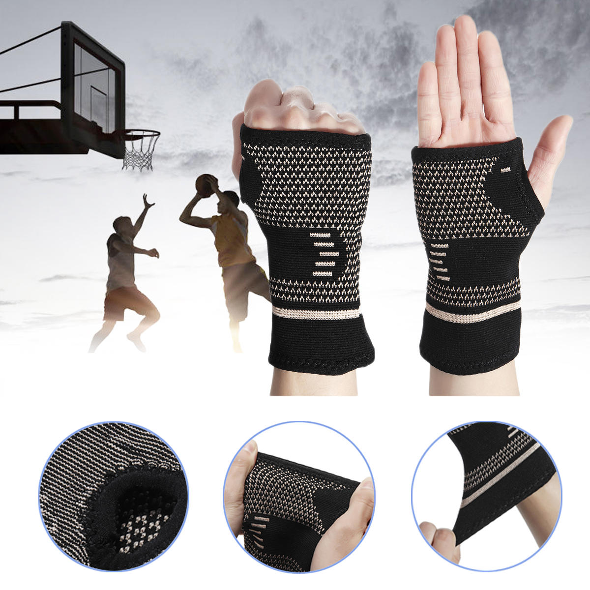 KALOAD 1PC Copper Infused Wrist Sleeve Palm Hand Support Outdoor Sports Bracer Support Fitness Protective Gear
