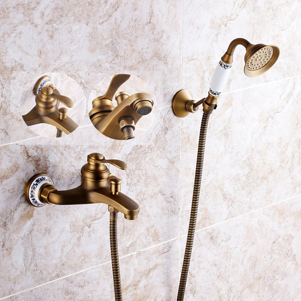 Antique Brass Shower Head Bathroom Tub Faucet Hand Held Tap Spray Waterfall Set
