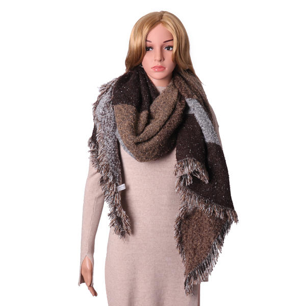 Mujer Winter Warm Blanket Grid Cashmere Scarf Tassel Chal Checked Wrap Stole