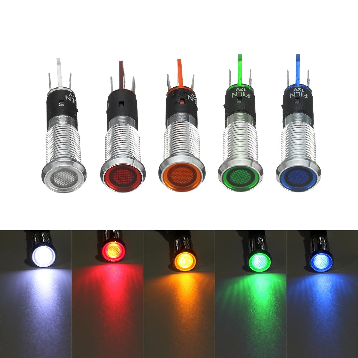 """White LED Light 12v DC Metal Conical/""""/"""" 8mm Auto Moto camper Nautical Lamps"""