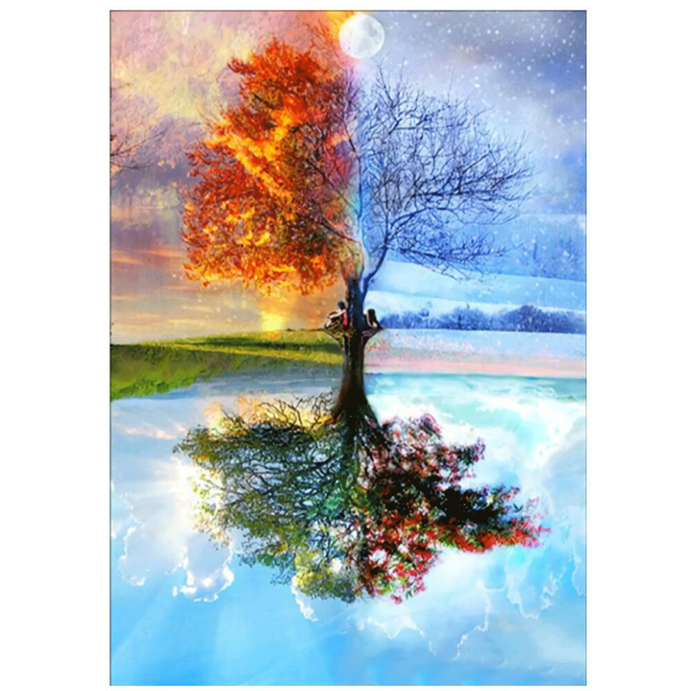 DIY Diamond Painting Reflection Tree 5D Full Drill Living Room Bedroom Hanging Pictures Handmade Wall Decorations Gifts