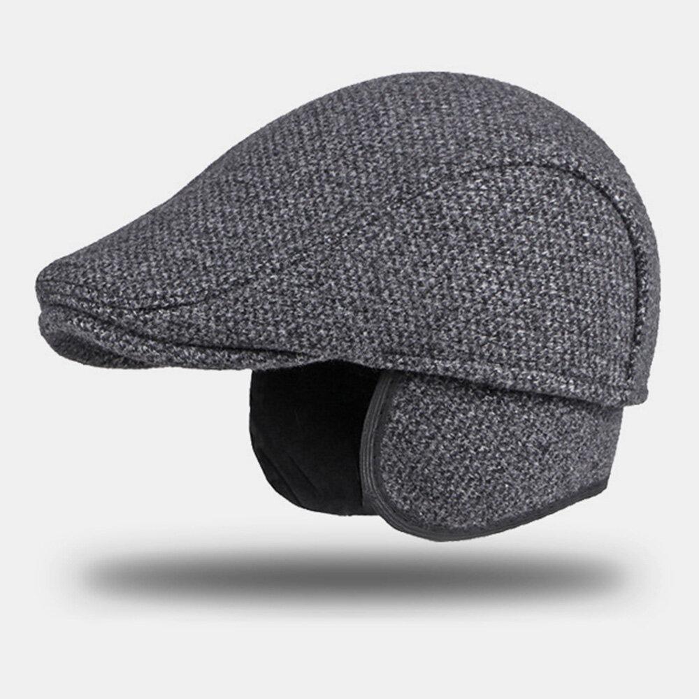 Men Woolen Plus Velvet Warm Beret Cap Winter Ear Protection Thicken Brim British Forward Hat Newsboy Hat