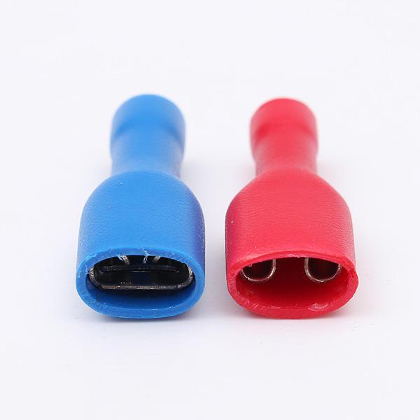 50Pcs 0.5-2.5mm² Rosso & Blu 6.3mm Femmina Spade Crimp Wire Connettore Terminale