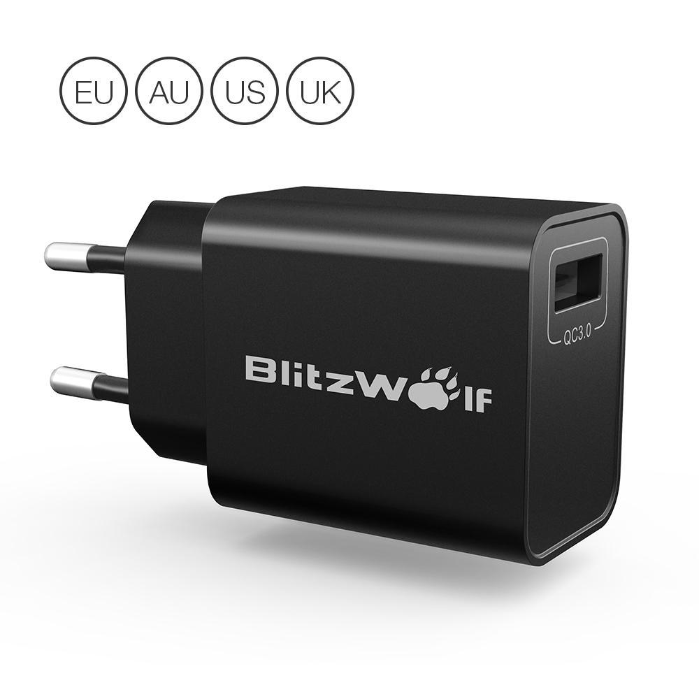 ब्लिट्जवॉल्फ® BW-S9 18W यूएसबी चार्जर ईयू यूएस यूके एयू एडाप्टर पावर 3 एस टेक के साथ