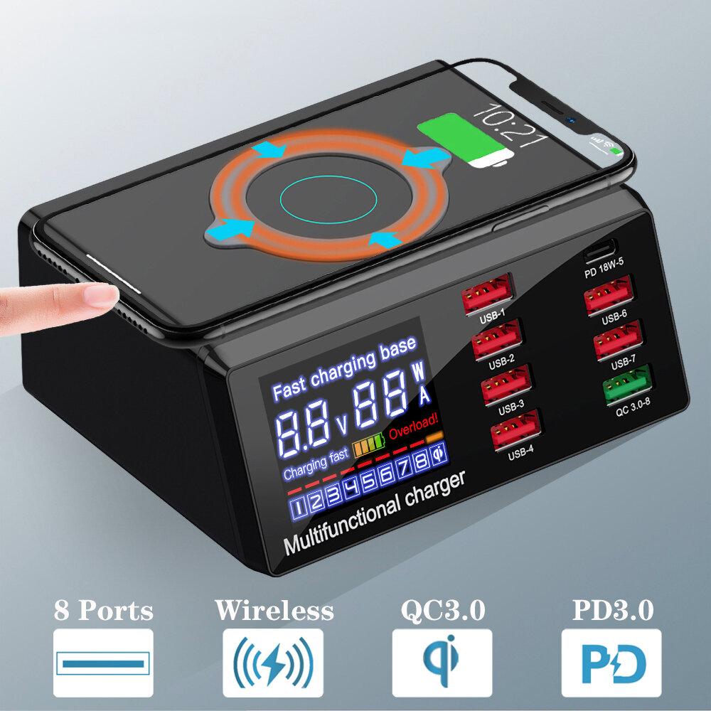 Banggood coupon: Carregador PD3.0 QC3.0 com 8 portas USB Bakeey 100W Carregador de mesa Carregador inteligente 10W Base de carregamento s