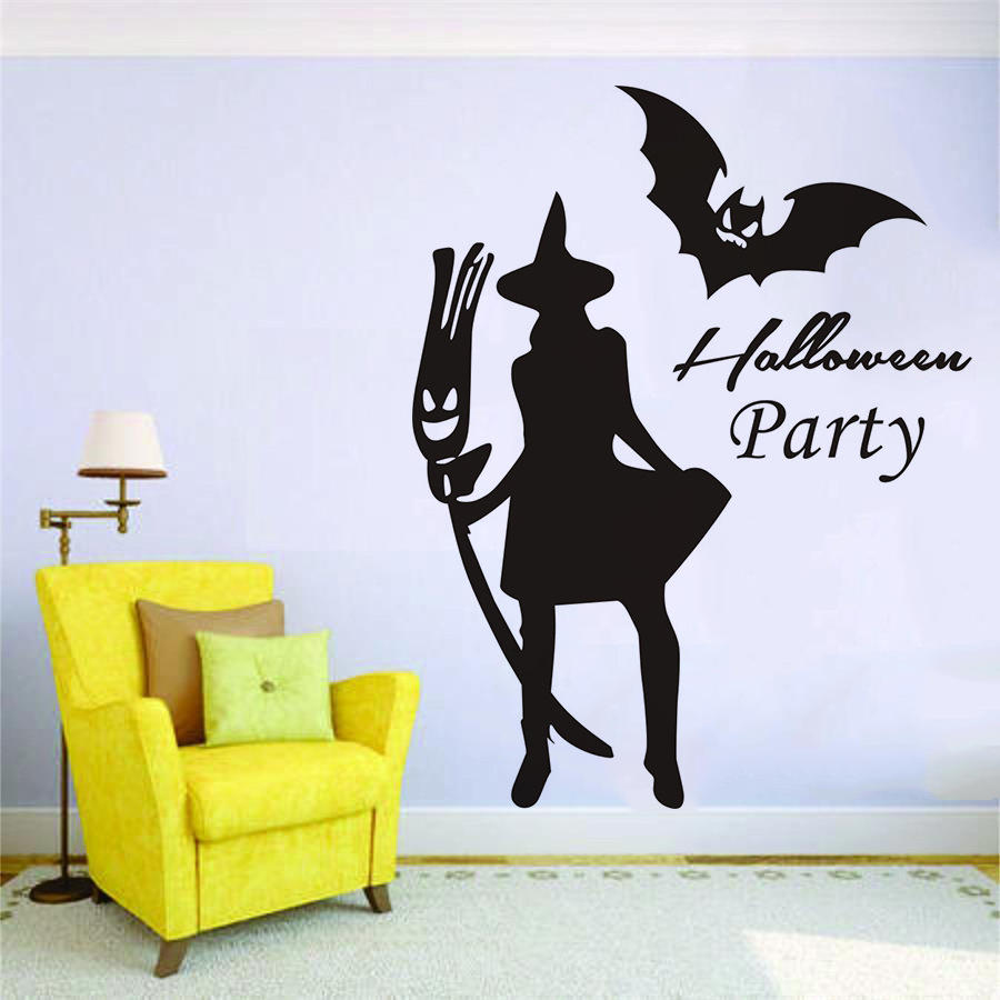 Witch Bat Wall Sticker Creative Carved