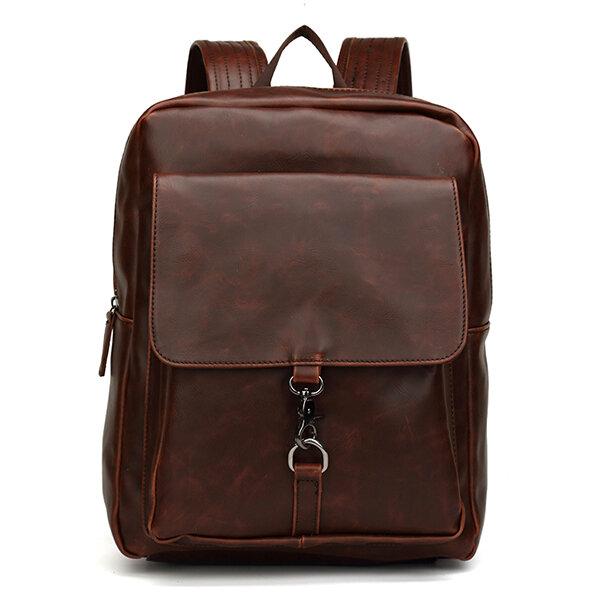 Мужская кожа PU Ретро-минималистский рюкзак Casual Travel Mochila Ноутбук Сумка