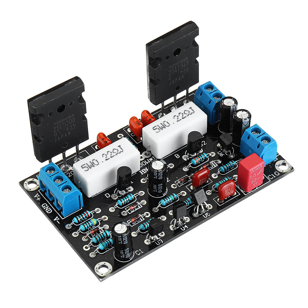 2SC5200+2SA1943 Mono Channel 100W HIFI Audio Amplifier Board After-stage  Power AMP Dual DC35V