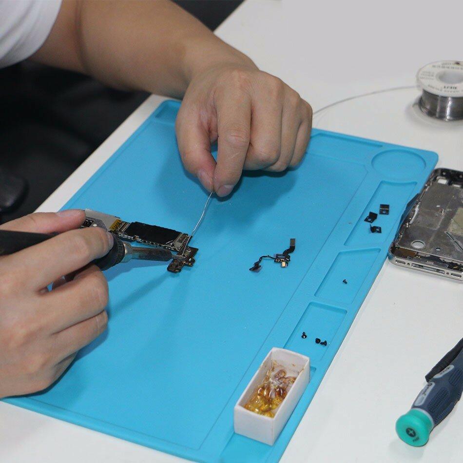 DANIU 34x23cm Heat Resistant Silicone Pad Desk Mat Maintenance Platform Heat Insulation BGA Soldering Repair Station with 20 cm Scale Ruler