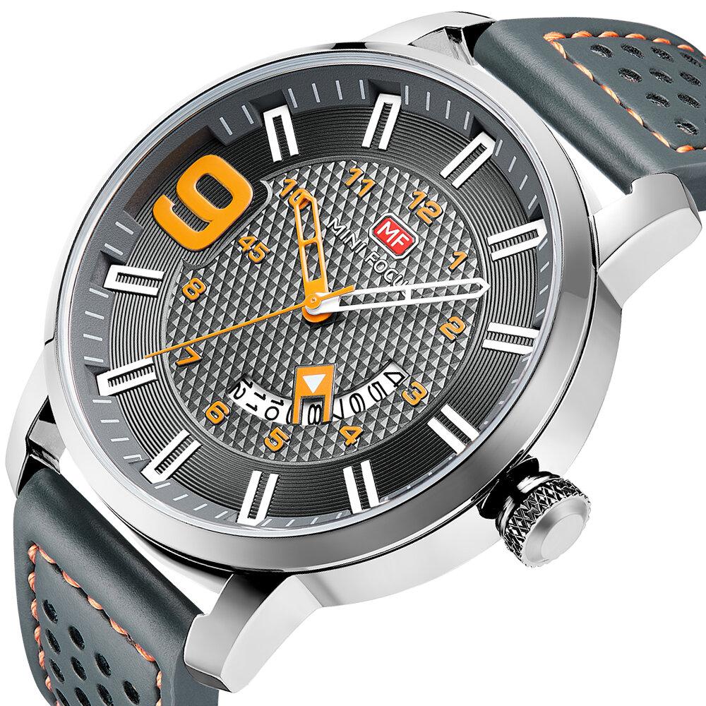 MINI FOCUS MF0154G Military Style Calendar Color Dial Men Wrist Watch Leather Strap Quartz Watch