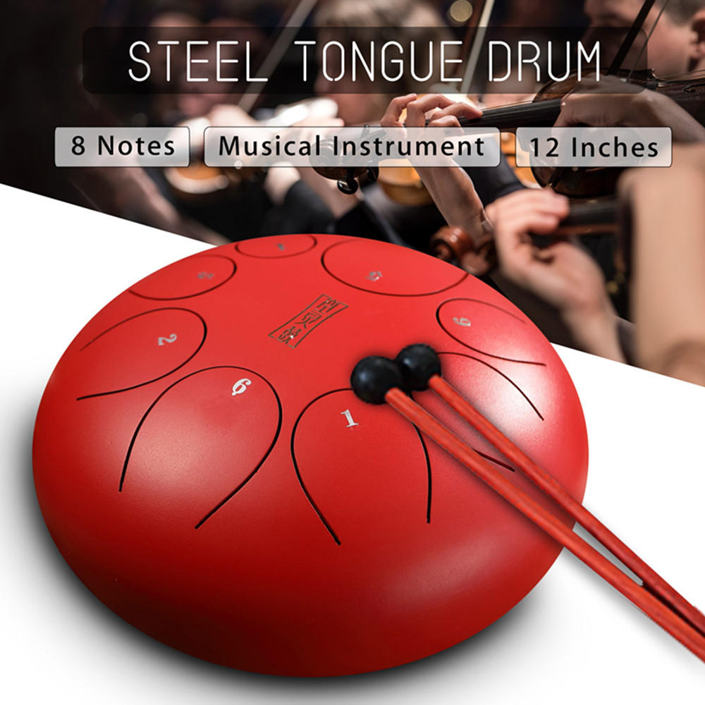 12 Inch 8 Notes Steel Tongue Percussion Drums Handpan Instrument with Drum Mallets and Bags фото